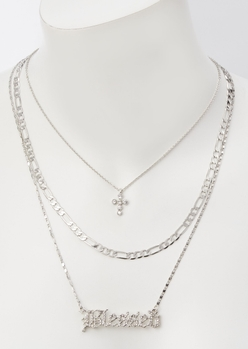 3-pack silver blessed layered necklace set - Main Image