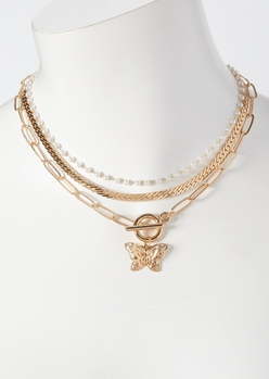 gold butterfly toggle layered necklace - Main Image