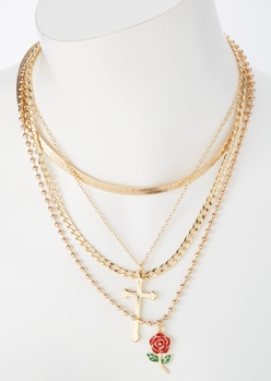 gold cross rose charm layered necklace set - Main Image
