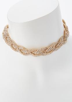 gold rhinestone braided choker necklace - Main Image