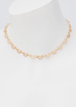 gold butterfly cutout chain choker necklace - Main Image