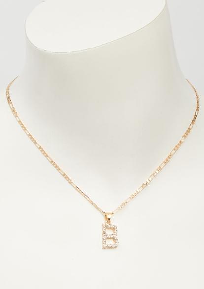 gold rhinestone b charm necklace - Main Image