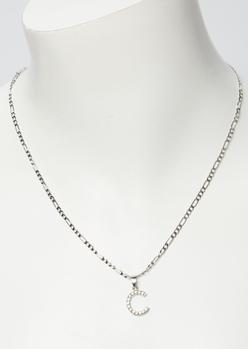 silver rhinestone c initial necklace - Main Image