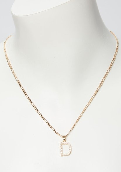 gold rhinestone d initial necklace - Main Image