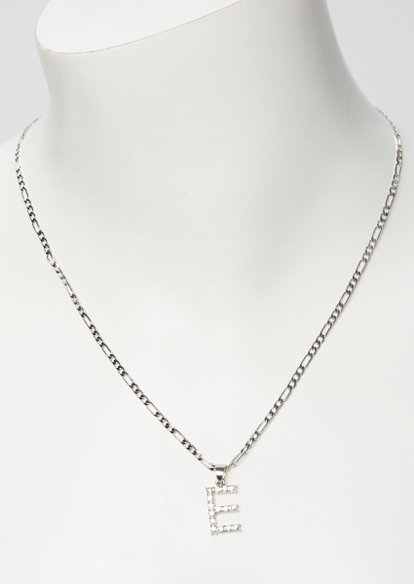 silver rhinestone e initial necklace - Main Image
