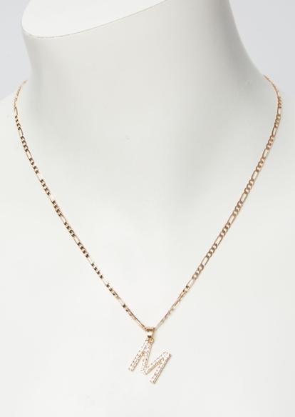 gold rhinestone m initial necklace - Main Image