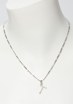 silver rhinestone t initial necklace - Main Image