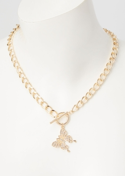 gold butterfly rhinestone toggle necklace - Main Image