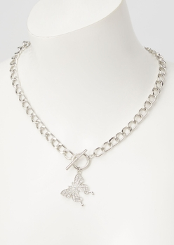 silver butterfly rhinestone toggle necklace - Main Image