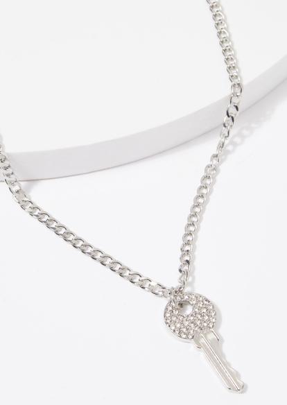 silver chunky chain rhinestone key charm necklace - Main Image