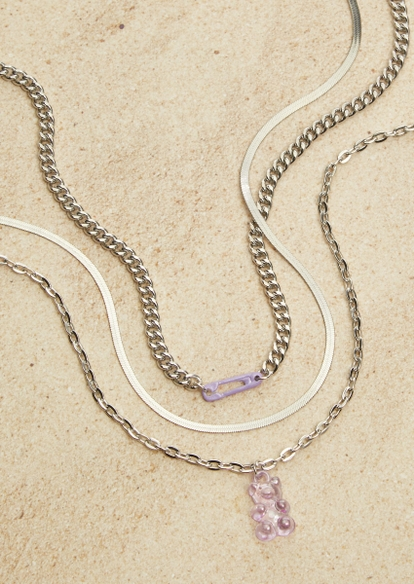 triple layer silver chunky chain purple gummy bear necklace set - Main Image