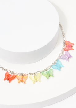 rainbow butterfly charm necklace - Main Image