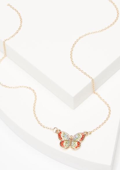 rainbow rhinestone butterfly necklace - Main Image