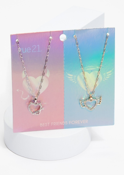 2-pack angel devil heart mixed metal bff necklace set - Main Image