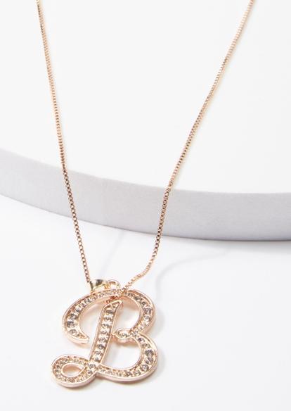 gold cursive b initial charm necklace - Main Image