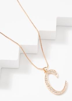 gold cursive c initial charm necklace - Main Image