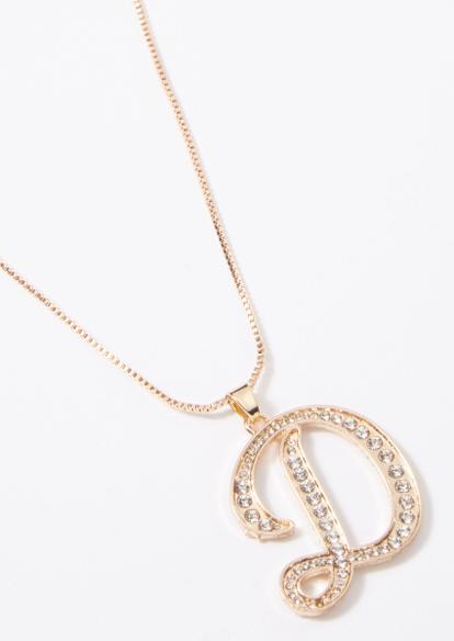 gold cursive d initial charm necklace - Main Image