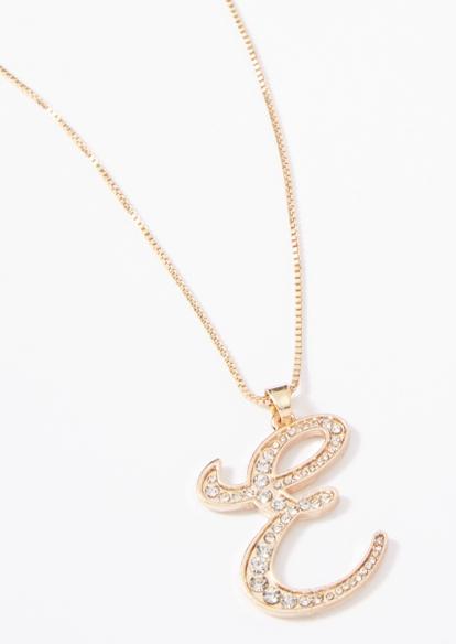 gold cursive e initial charm necklace - Main Image