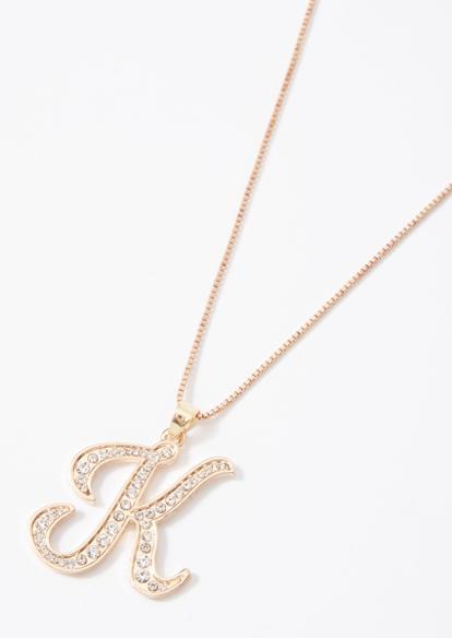 gold cursive k initial charm necklace - Main Image