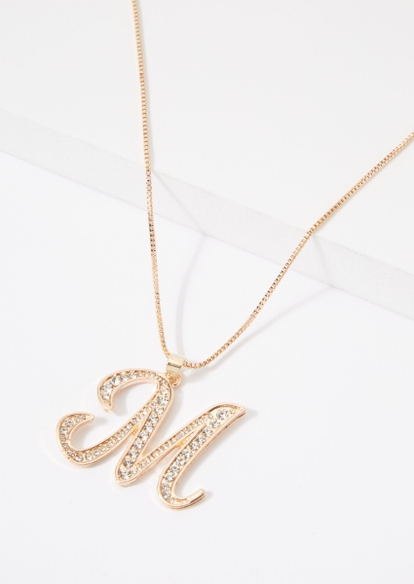 gold cursive m initial charm necklace - Main Image