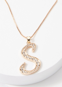 gold cursive s initial charm necklace - Main Image