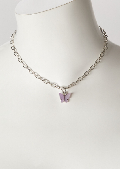 lilac butterfly chain necklace - Main Image