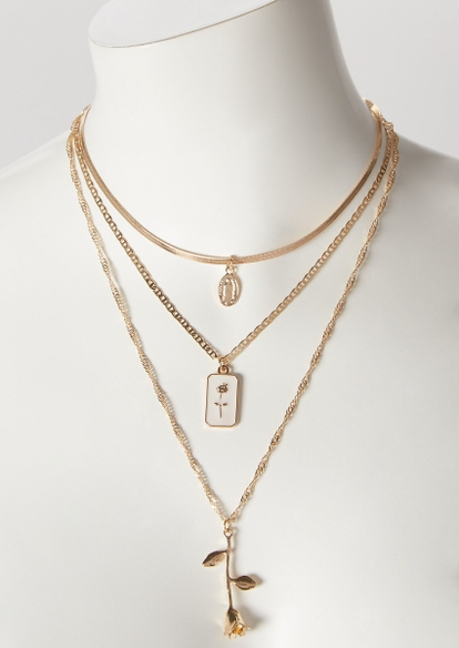 gold rose layered chain necklace - Main Image