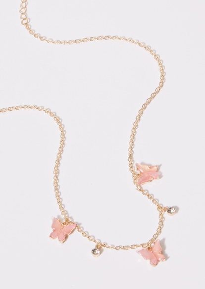 gold chain pink butterfly rhinestone charm necklace - Main Image