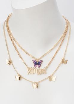 gold angel three layered necklace - Main Image