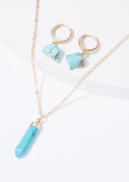 4-pack healing turquoise necklace and earring set - Main Image