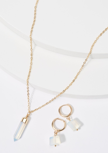 gold healing moonstone necklace & earring set - Main Image