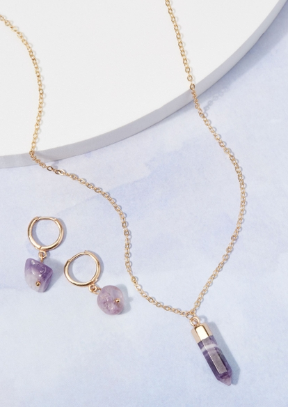 gold healing amethyst necklace and earring set - Main Image