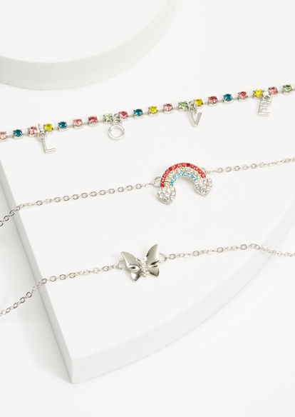 3-pack silver pride rainbow love charm necklace set - Main Image