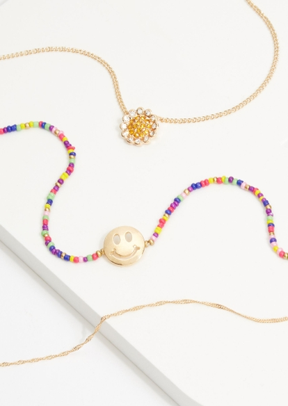 3-pack gold rainbow bead smiley face charm necklace set - Main Image