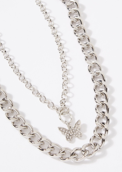 silver double layer butterfly charm chunky chain necklace - Main Image