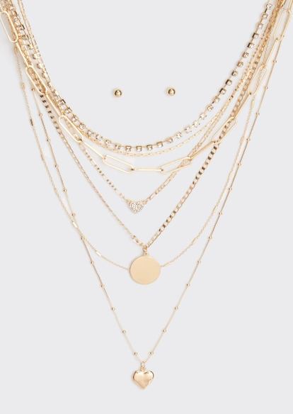 gold heart coin layered necklace and earring set - Main Image