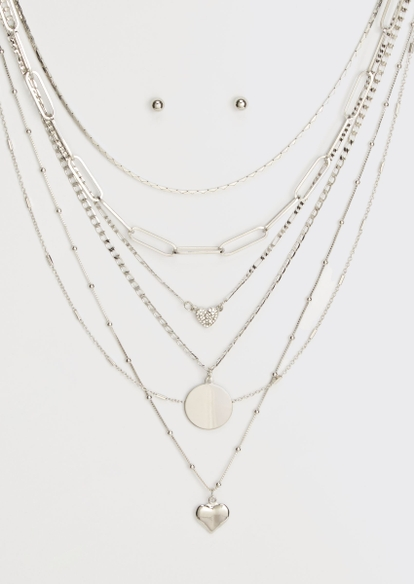 silver heart coin layered necklace and earring set - Main Image