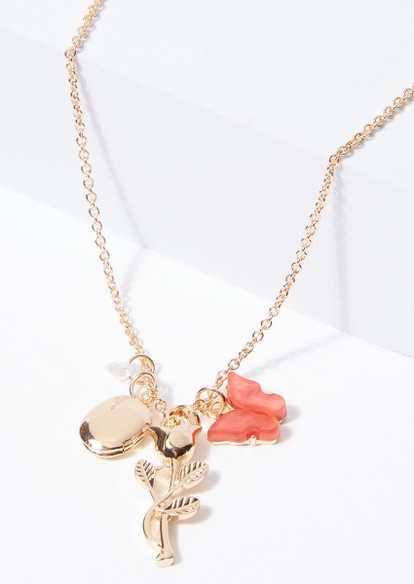 gold rose butterfly charm cluster necklace - Main Image