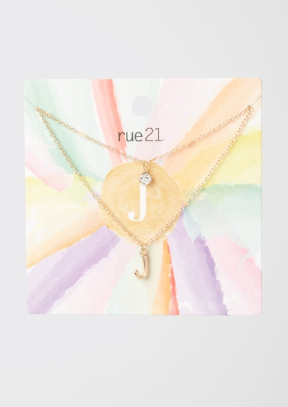 gold j initial layered necklace - Main Image