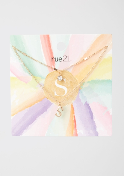 gold s initial layered necklace - Main Image