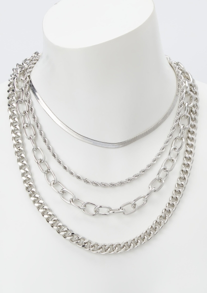 4-pack silver chain necklace set - Main Image