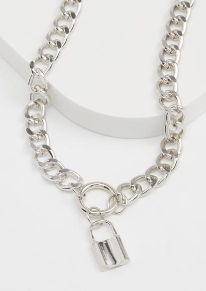 silver lock pendant necklace - Main Image