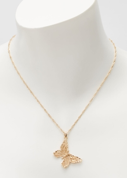 gold filagree butterfly necklace - Main Image