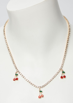 gold rhinestone dangly cherry charm necklace - Main Image