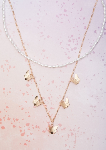 2-piece gold pearl butterfly necklace set - Main Image