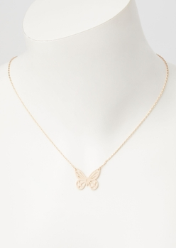 gold cutout butterfly necklace - Main Image