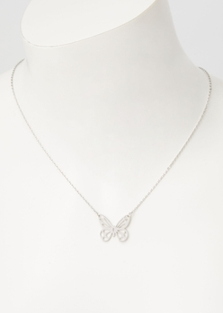 silver cutout butterfly necklace - Main Image