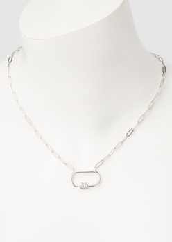 silver carabiner necklace - Main Image