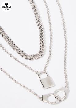 triple layer silver handcuff lock necklace set - Main Image