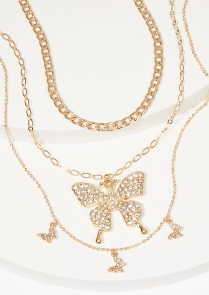 triple layer gold oversized butterfly charm necklace set - Main Image